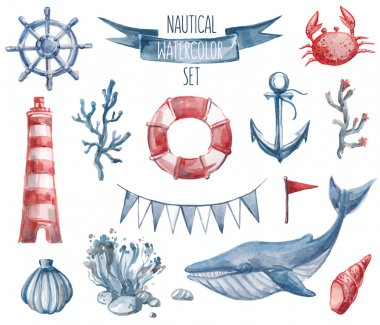 Beautiful nautical set. Watercolor vector. Include lighthouse, anchor, corals, seaweed, whale, shells, steering-wheel and buoy ring clip art vector