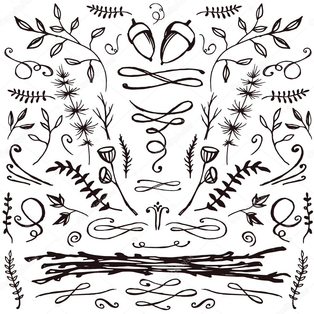 Hand-drawn set of florals and flourishes