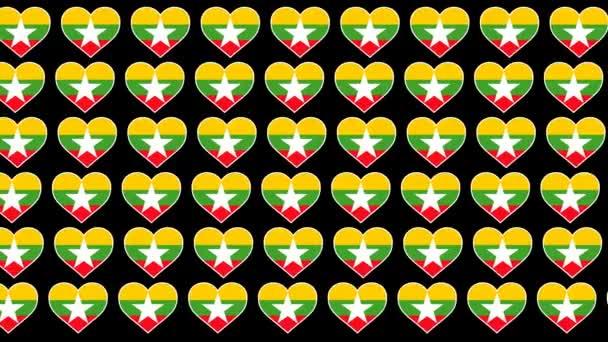 Myanmar Pattern Love flag design background