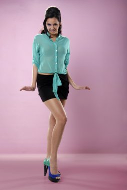 fashion woman in turquoise blouse