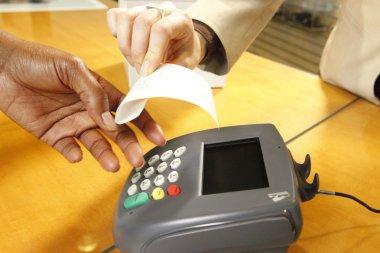Getting a receipt through a merchant's terminal
