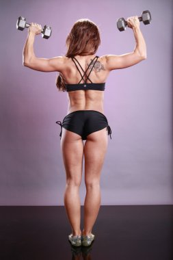 Model exercises with dumbbells