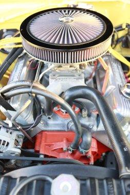 car's engine open hood