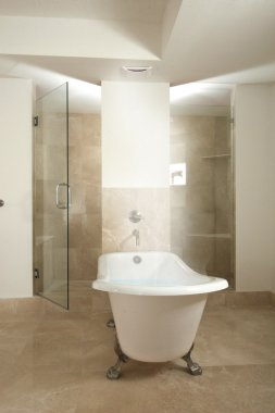 Bathtub full of steaming hot water