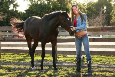 Texas young woman with horse