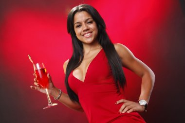 Cute brunette girl with cocktail