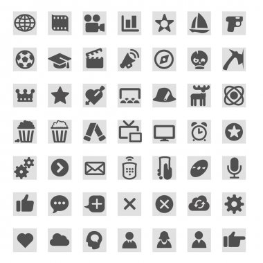 Icons for TV programs on TV websites and TV and movie guides. Genres and types of TV programs stock vector