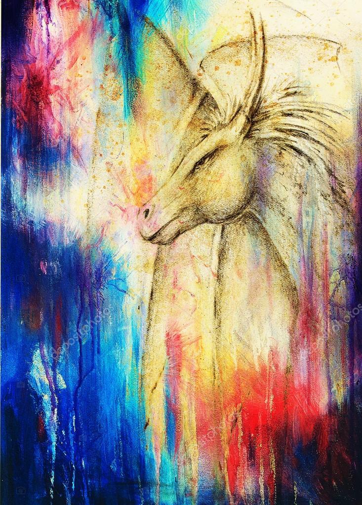 Dessin dragon et couleur abstrait au crayon photographie - Dessin dragon couleur ...