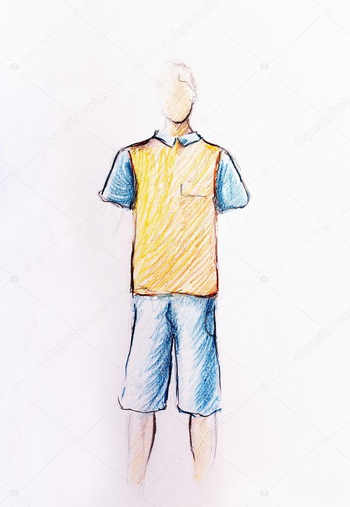 Drawing male clothes color pencil sketch on paper stock photo