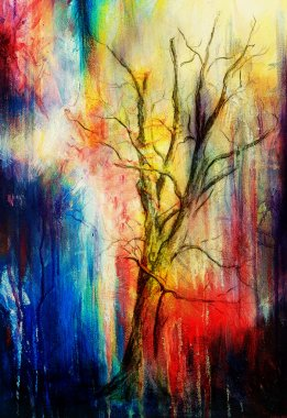 Painting tree in night landscape and abstract grunge background with spots, original hand draw and computer collage.