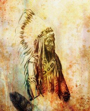 drawing of native american indian foreman Sitting Bull - Totanka Yotanka according historic photography, with beautiful feather headdress.