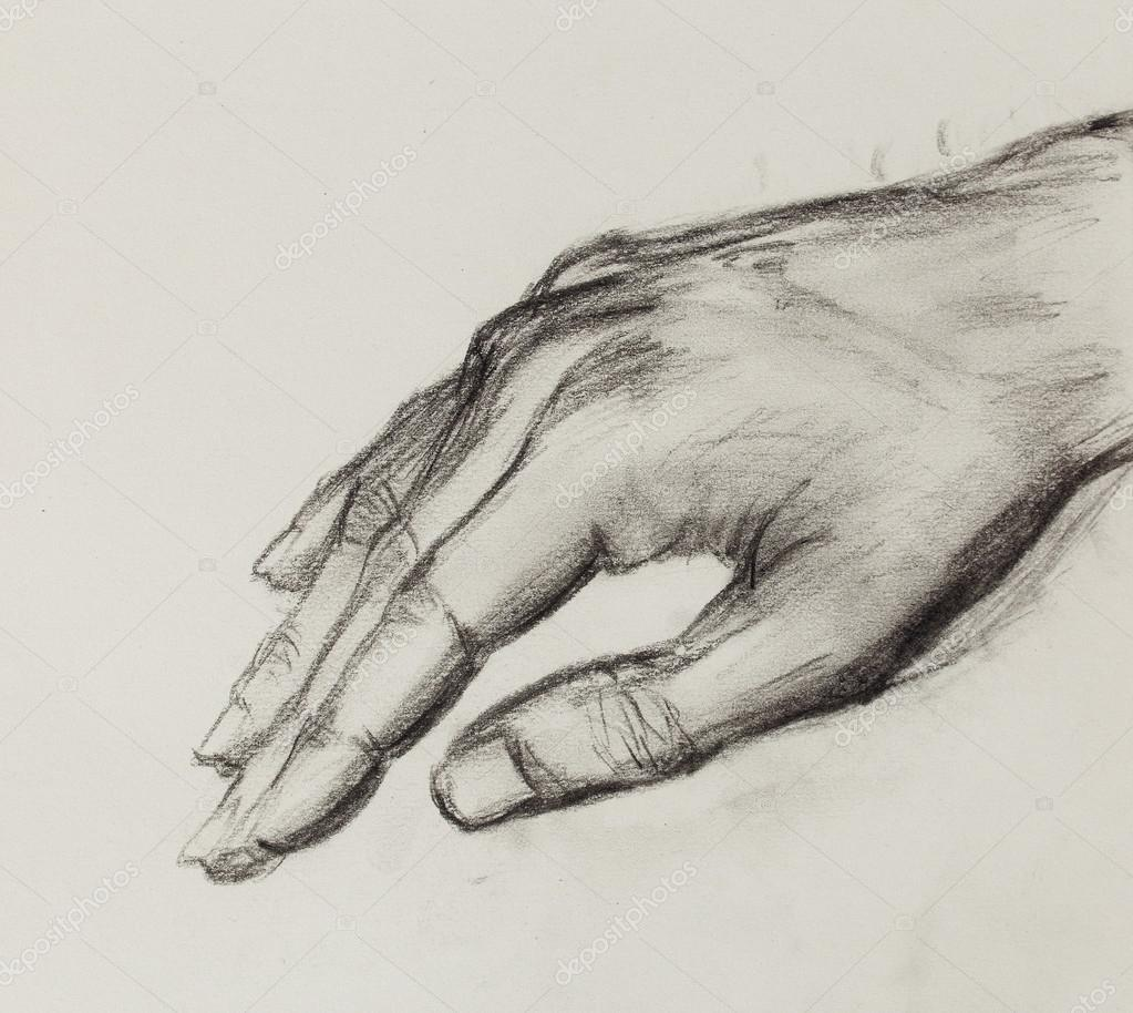 Drawing hand pencil sketch on old paper stock photo