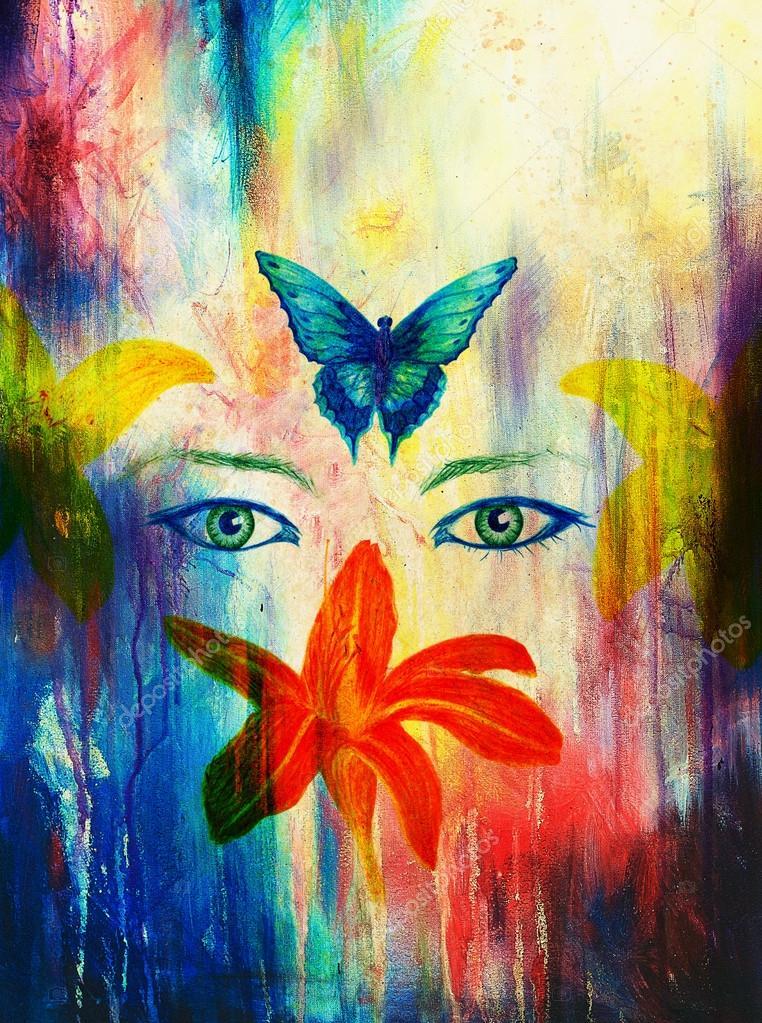 Dibujos Dibujo Lapiz Color Ojos De Mujer Con Flor Y Mariposa