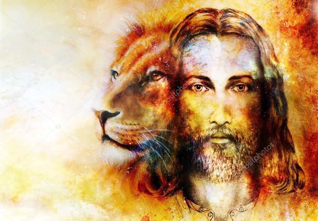 pintura de Jesús con un León, en hermosos colores de fondo con toque ...