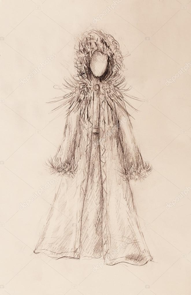 Crayon De Dessin Sur Papier Femme En Manteau De Fourrure Et Plumes