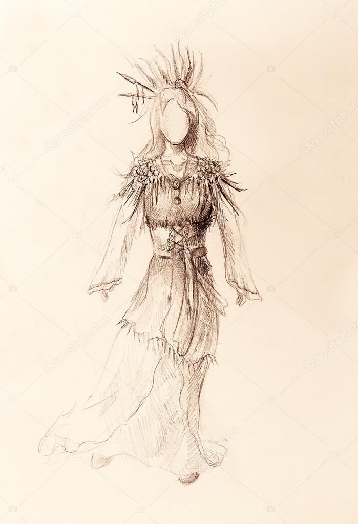 Lápiz De Dibujo Sobre Papel Mujer India Y Plumas Y Flechas En El