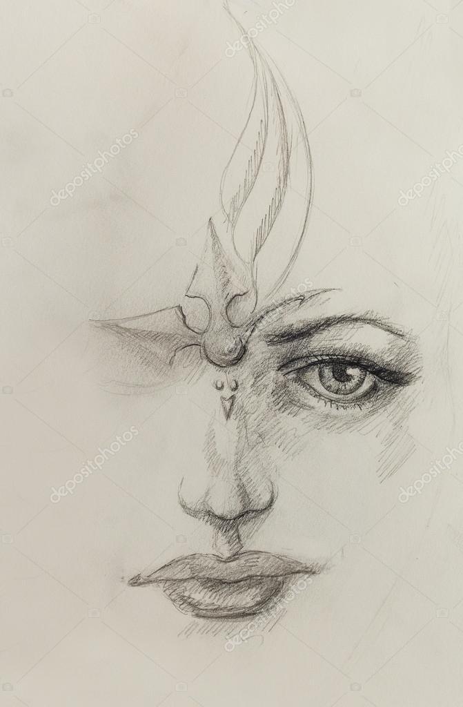 Visage De Femme Mystique Dessin Sur Papier Au Crayon Photographie