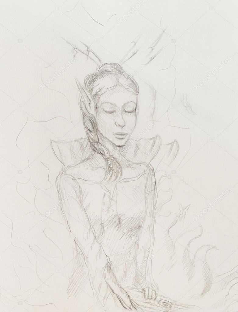 Dibujos Dibujo De Mujer Con Lapiz Dibujo De Mujer Elfo Dibujo A