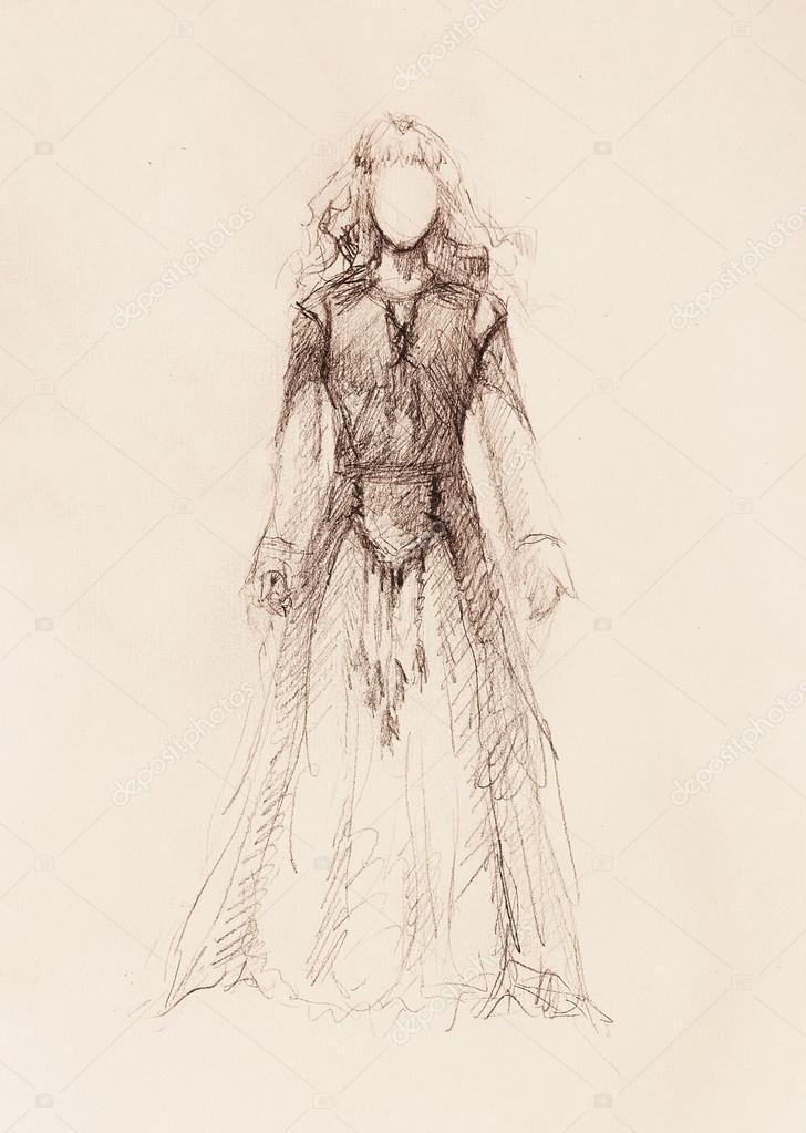 Femme En Robe Ornemental Croquis Au Crayon Sur Papier Sepia Et