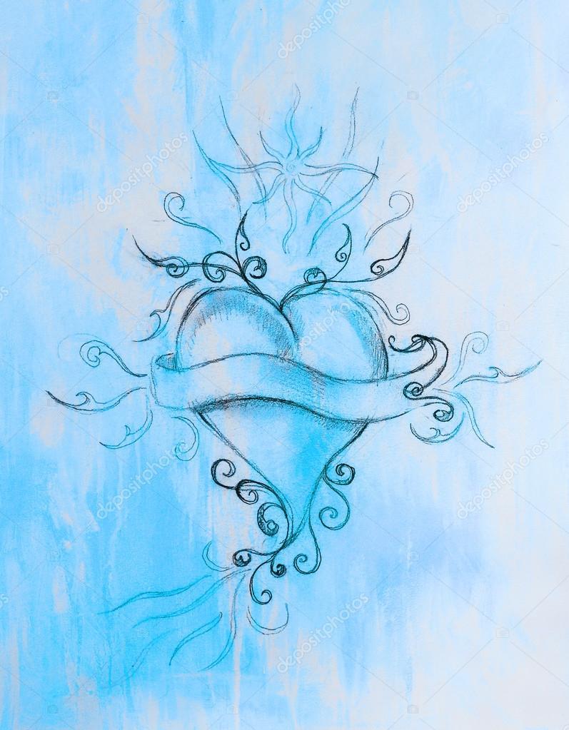 Dibujos La Luna Y El Sol A Lapiz Corazón Y Cinta Con Ornamento