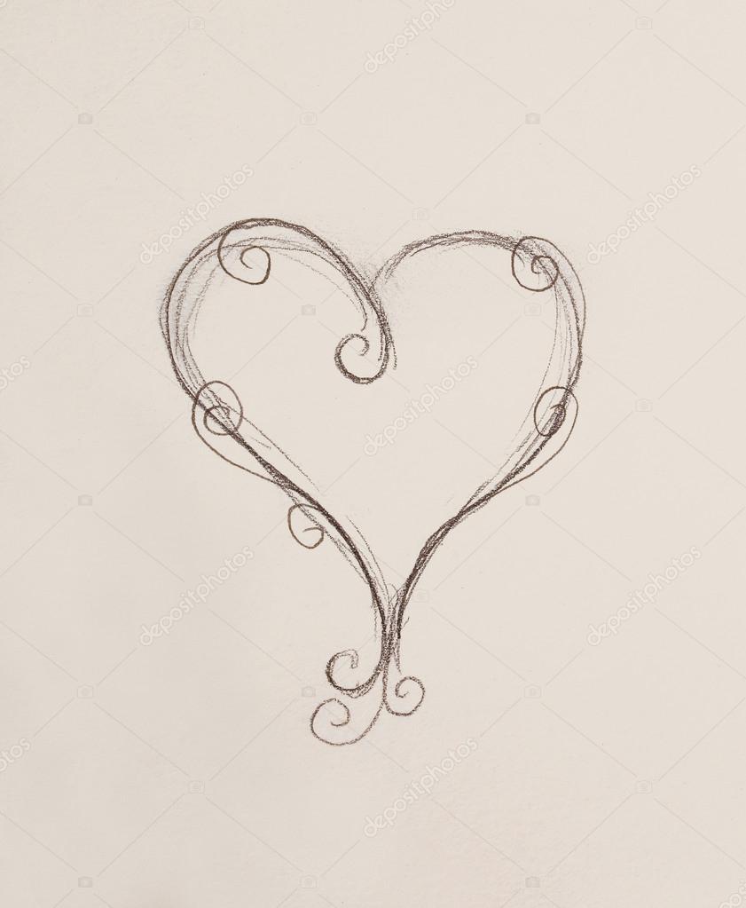 Srdce Kresba Tuzkou Na Papiru Stock Fotografie C Jozefklopacka