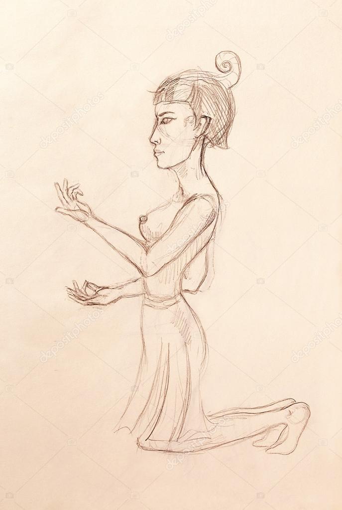 Femme Egyptienne De Dessin Croquis Au Crayon Sur Papier
