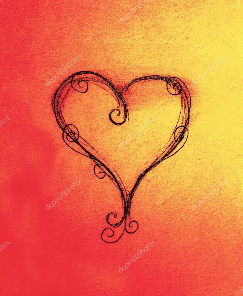Srdce Kresba Tuzkou Na Papiru Barevny Efekt Stock Fotografie