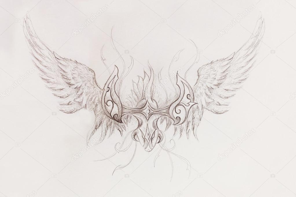 Kresba Z Okrasnych Draka Na Stare Papirove Pozadi Stock Fotografie