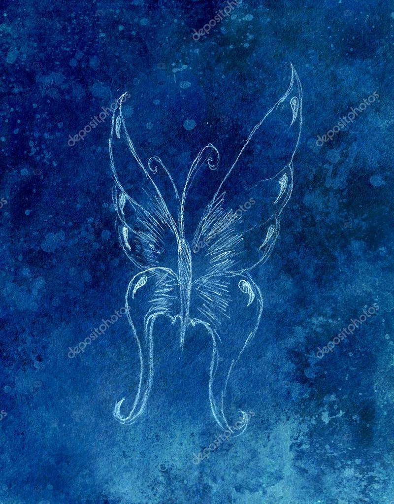 Illustration d un papillon crayon dessin abstrait fond - Papillon dessin couleur ...
