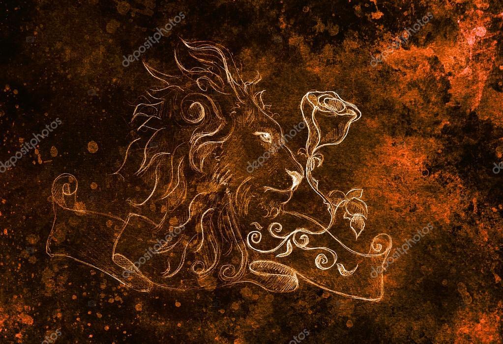Lion Avec Rose Et Ruban Avec Ornement Main Original Dessin