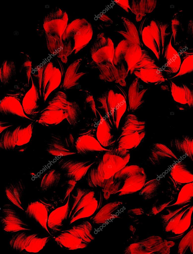 Fiore Rosso Su Sfondo Nero Collage Di Pittura E Computer Foto