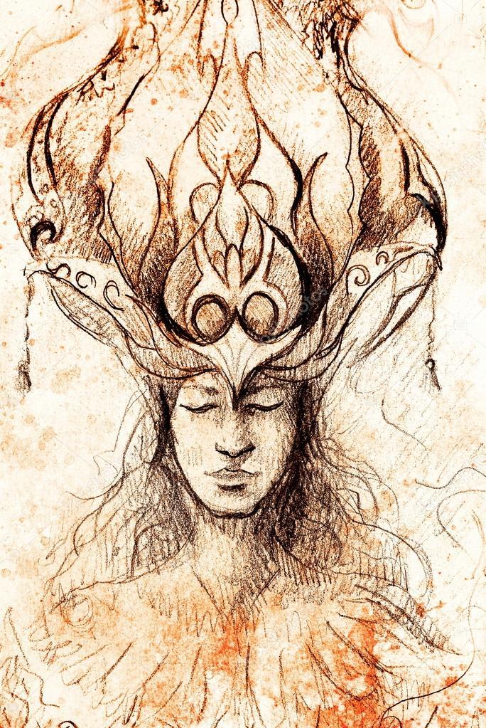 Hombre Y Corona Ornamental Dibujo A Lápiz Sobre Papel Sepia Y
