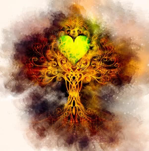 strom života symbol na strukturovaném ornamentálním pozadí s tvarem srdce, květ života vzor, yggdrasil.