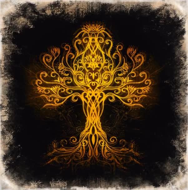 symbol stromu života na strukturovaném ornamentálním pozadí, yggdrasil.
