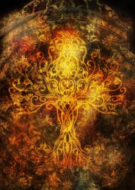 strom života symbol na strukturovaném pozadí, yggdrasil.