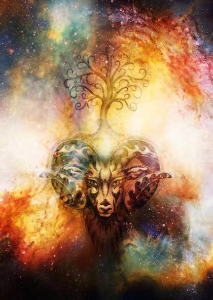 ornamentální malba Berana, posvátného zvířecího symbolu a stromu života v kosmickém prostoru.