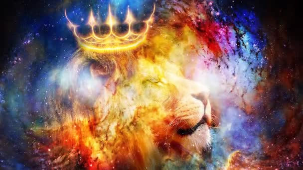 lion king in cosmic space. Lion on cosmic background.