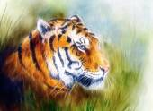 Painting of a bright mighty tiger head on a soft toned bstract gres background, fractal effect