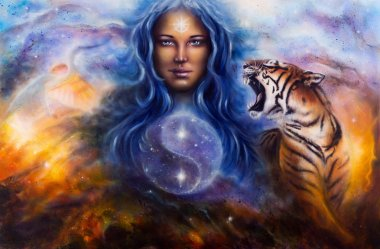 Beautiful painting oil on canvas of a female goddess lada guarding a sacred balance with a flying heron and a roaring tiger