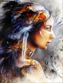 Photo Beautiful illustration indian woman on an abstract textured background