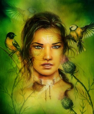 Beautiful airbrush portrait of a young enchanting woman face with feathers and long dark hair, looking directly up, with birds on green painting background