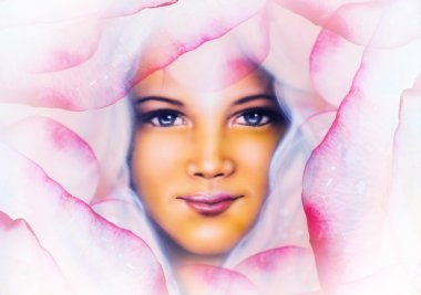 Beautiful  painting of a young woman angelic face with blue eye , on abstract  rose flower background, pink colored