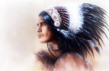 Beautiful painting of a young indian warrior wearing a gorgeous feather headdress, profile portrait stock vector