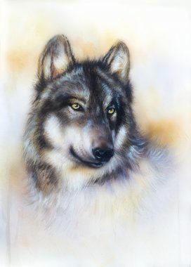 Wolf painting on canvas , color  background on paper , multicolor illustration.