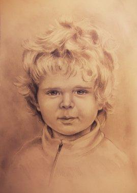 """Картина, постер, плакат, фотообои """"детский портрет, красивый детальный рисунок маленького мальчика на фоне окра поп"""", артикул 68717897"""