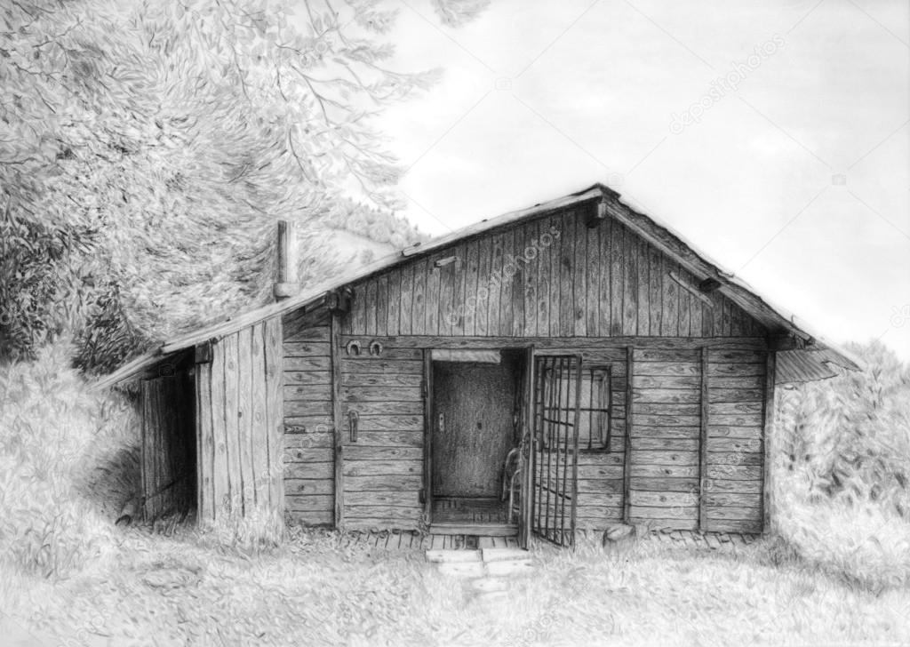 Romantic wooden cabin in mountain landscape, beautiful detailed monochromatic pencil drawing