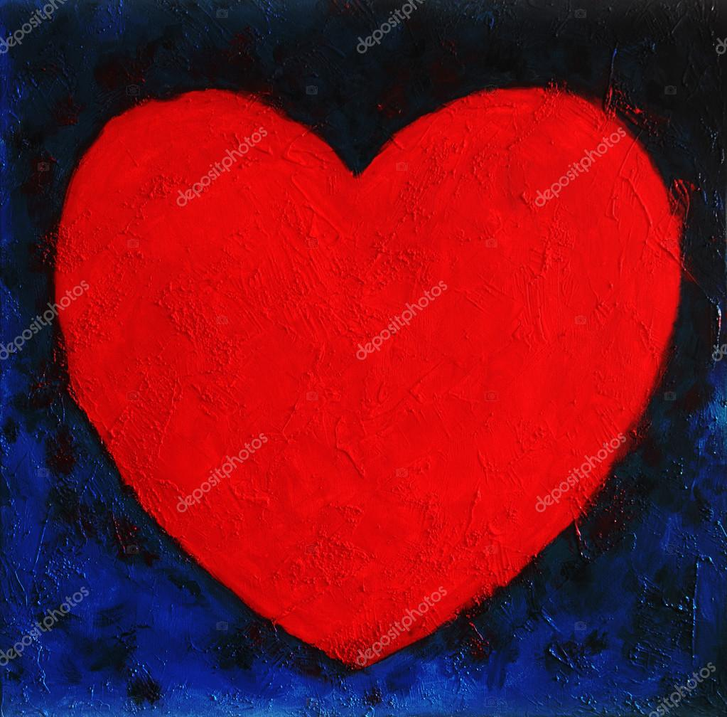 Heart Shape Symbol Simple Clear Bright Red Form On Blue Abstract