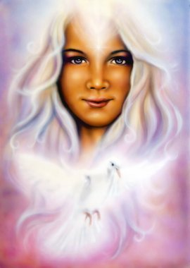 Young girls angelic face with radiant white hair and a shining dove