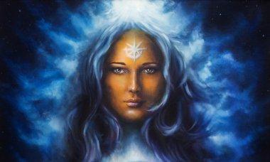 Spiritual painting, woman goddess with long blue hair holdingn eye contact