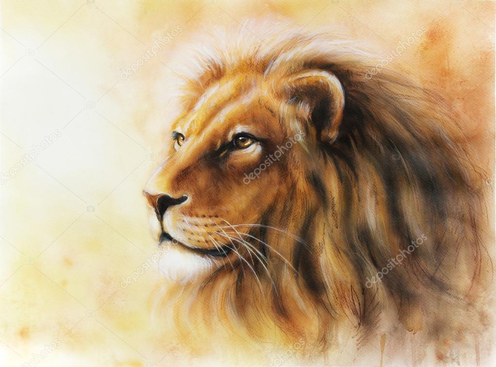 Lion Color Painting Profile Portrait Stock Photo C Jozefklopacka
